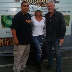 San Diego's KUSI news anchor David Davis with Big Boyz Tacos.